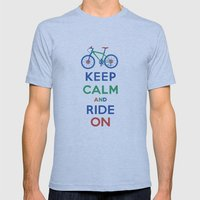 Keep Calm and Ride On Mens Fitted Tee Athletic Blue SMALL