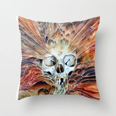 Bubble skull -oil Throw Pillow
