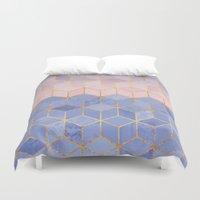 Rose Quartz & Serenity Cubes Duvet Cover