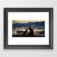 Girl And Dog Silhouettes… Framed Art Print