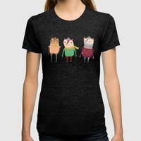 The Cats. Womens Fitted Tee Tri-Black SMALL