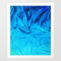 PETAL PINWHEELS, Revisited -  Indigo Royal Blue Turquoise Floral Pattern Swirls Ocean Water Flowers Art Print