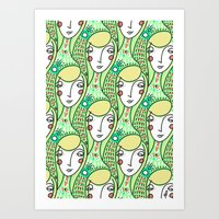 Alien Days Pattern Green Art Print