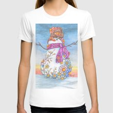 Sunset Daisy Snowman Womens Fitted Tee White SMALL