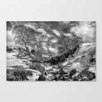 Waterfall Snowfall Canvas Print