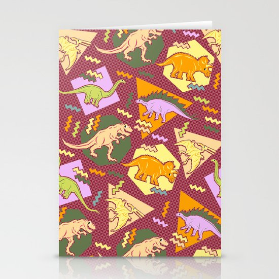 Nineties Dinosaur Pattern version 2. Stationery Card