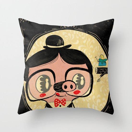 PIGnocchio and the blue fairy / pinocchio pig Throw Pillow