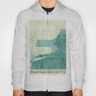 Massachusetts Map Blue V… Hoody