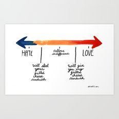 The Grilled Cheese Continuum of Love. Art Print