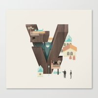 Resort Type - Letter V Canvas Print
