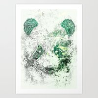 Green Panda Bear Art Print