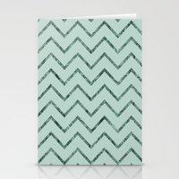 Mint Glam Chevron Zigzag Stripes Stationery Cards