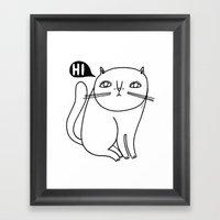 Shy Little Cat Framed Art Print