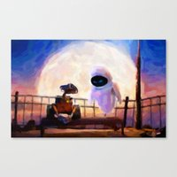 Wall-E & Eve - Painting … Canvas Print