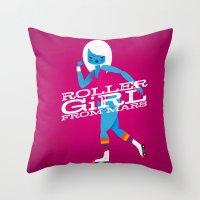 Roller Girl From Mars Throw Pillow