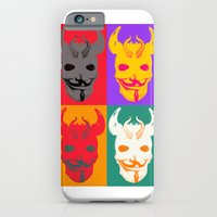 iPhone & iPod Case featuring 4 Devil Skull Masks by justlikeandy.co.uk Andy Warhol-style