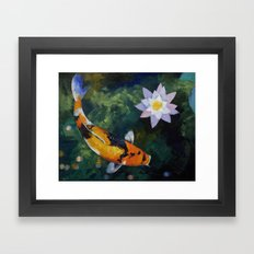 Showa Koi and Water Lily Framed Art Print