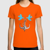 Sam Anchor Of Love Womens Fitted Tee Orange SMALL