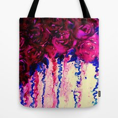 PETALS ON PARADE, Oxblood Marsala Red Royal Blue Floral Abstract Watercolor Roses Flowers Painting Tote Bag