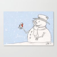 Twigs the Snowman Canvas Print