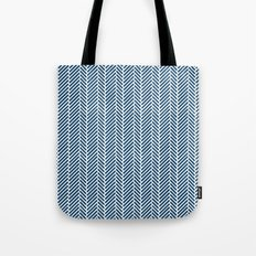 Herringbone Navy Inverse Tote Bag