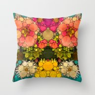 Perky Flowers! Throw Pillow
