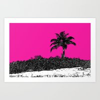 Palm Tree - Pink Art Print