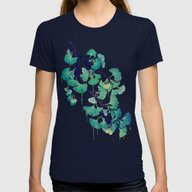O Ginkgo (in Green) Womens Fitted Tee Navy X-LARGE