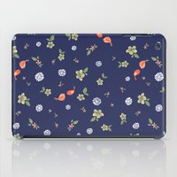 Floral with Birds on blue iPad Case