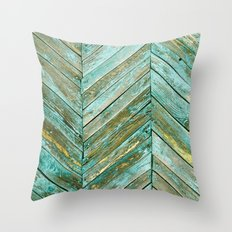 Vintage Blue Wood Throw Pillow