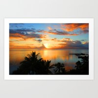 Sunset in French Polynesia Art Print