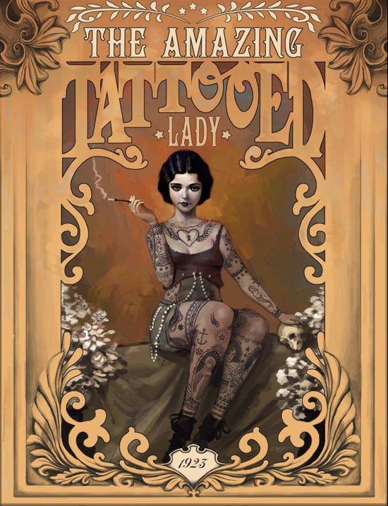 The Amazing Tattooed Lady Art Print