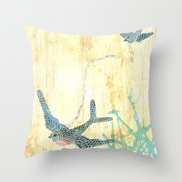 Birds of blue Throw Pillow