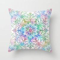 Nature Mandala In Rainbo… Throw Pillow