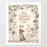 Rabbit Says 'draw'! Art Print