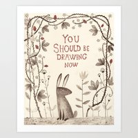 Rabbit Says 'draw'! Art Print