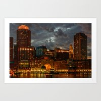 Night at Boston Harbor Art Print