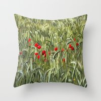 Cornfield Poppy Landscape Throw Pillow