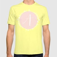 Garland Initial A - Pink Mens Fitted Tee Lemon SMALL