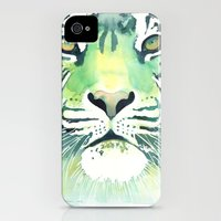 iPhone Cases featuring Green Tiger by Jackie Sullivan