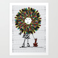 Flowerhead girl.  Art Print