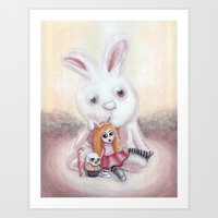 Ester And Bunny Art Print