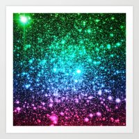 glitter Art Prints featuring glitter Cool Tone Ombre by 2sweet4words Designs