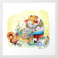 Capybara and his succulent garden. Art Print