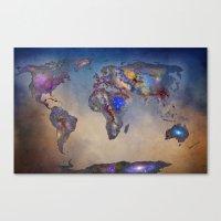 Stars world map. Blue Canvas Print