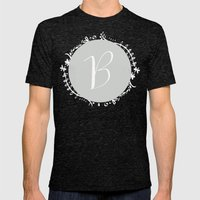 Garland Initial B - Grey Mens Fitted Tee Tri-Black SMALL