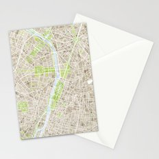 Paris SGB Watercolor Map Stationery Cards