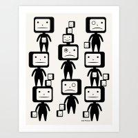 Black Block Heads Art Print