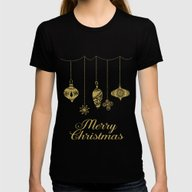 Christmas Glamour Womens Fitted Tee Black SMALL