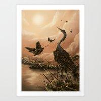 Crane And Moth  Art Print